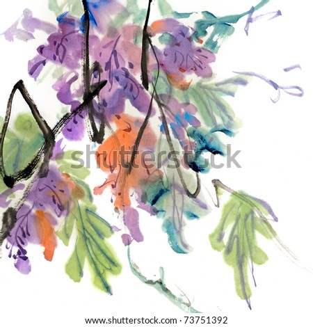 Colorful Chinese painting, traditional ink artwork of flowers on white background. - stock photo
