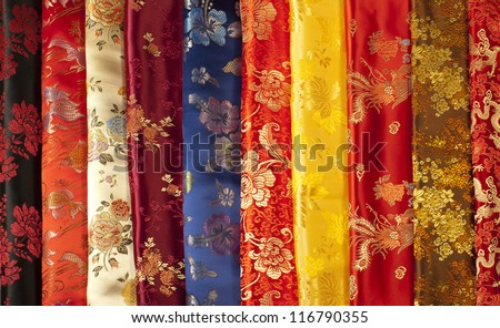 colorful Chinese silk samples - stock photo