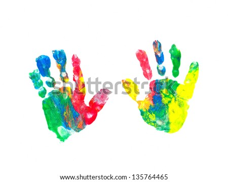 Colorful chlidren's hand prints