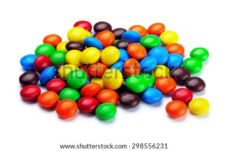 Colorful chocolate candies isolated on a white background  - stock photo