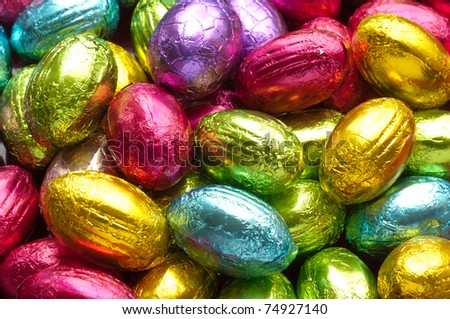 colorful chocolate easter eggs - stock photo