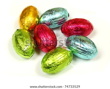 Colorful chocolate Easter eggs isolated