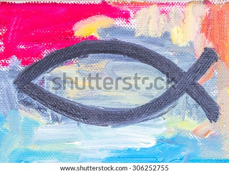 colorful christian fish, christian symbol,  original oil painting on canvas - stock photo