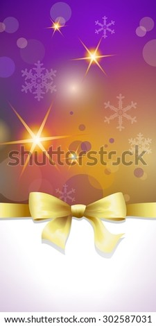Colorful christmas background or banner with golden bow and space for your text  - stock photo