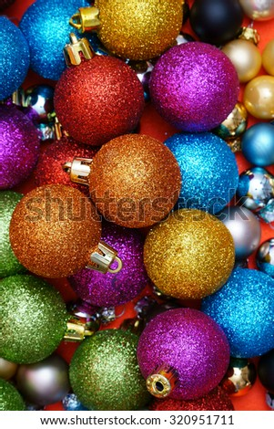 Colorful Christmas Background with many Christmas Baubles