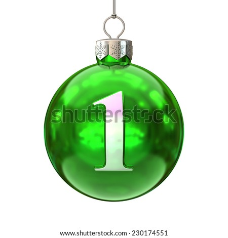 Colorful Christmas ball font number 1 - stock photo