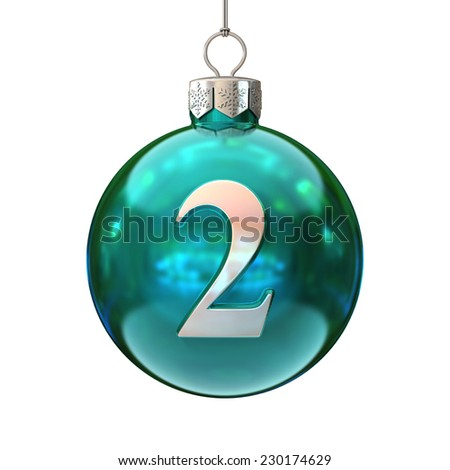 Colorful Christmas ball font number 2 - stock photo