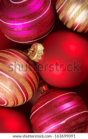 Colorful Christmas balls close-up. Top view. - stock photo