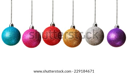 Colorful Christmas baubles isolated on white background - stock photo