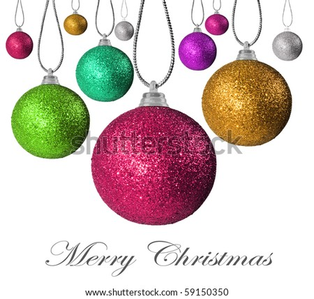 Colorful christmas baubles on strings - stock photo
