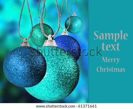 Colorful christmas baubles with space for text - stock photo