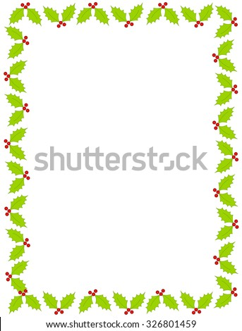 Colorful christmas border / frame with holly and berries