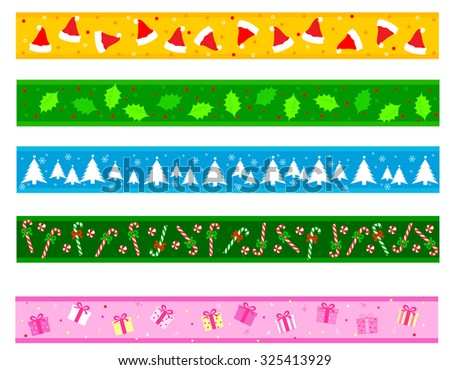 Colorful christmas frame / divider collection on white background - stock photo