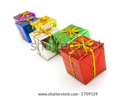 Colorful Christmas gift boxes on white background