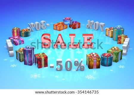 Colorful Christmas gifts and gray numbers (discount-percentages). Blue artistic background. - stock photo