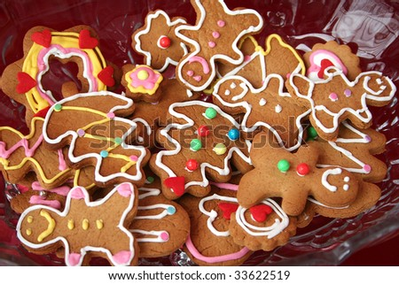 Colorful christmas gingerbread man and tree cookies - stock photo