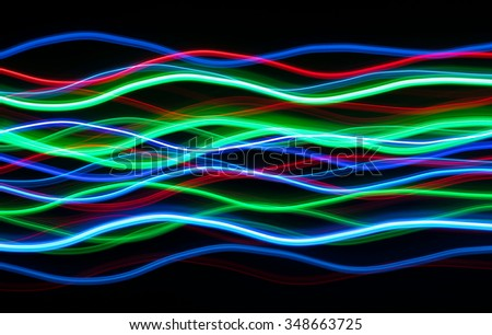 Colorful Christmas LED lights abstract blur lines.