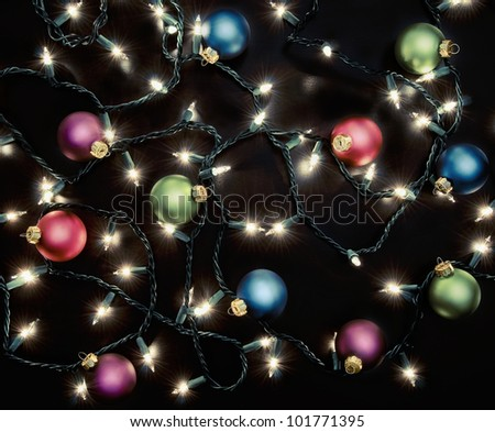 Colorful Christmas Ornaments - stock photo