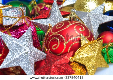 Colorful Christmas ornaments-Christmas balls_gift box with five-pointed star - stock photo