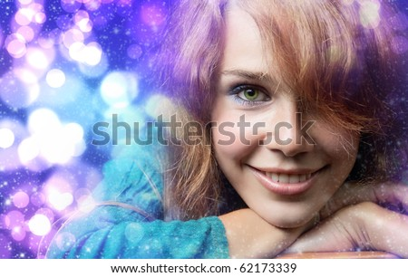 Colorful Christmas portrait of happy cute young woman - stock photo