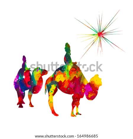 Colorful Christmas star. Greeting Card. Raster - stock photo