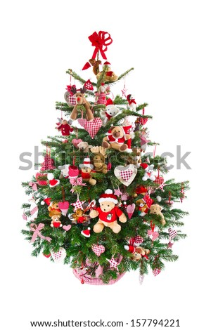 Colorful Christmas tree decoration isolated on white background