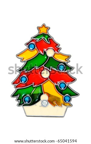Colorful christmas tree decoration made from stained glass