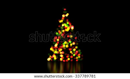 colorful christmas tree lights out of focus. festive background - stock photo