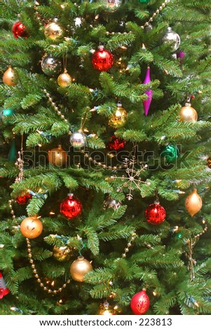 Colorful Christmas Tree with decorations.