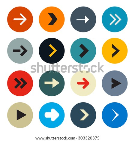 Colorful Circle Arrows Set for Application or Web Icons - stock photo