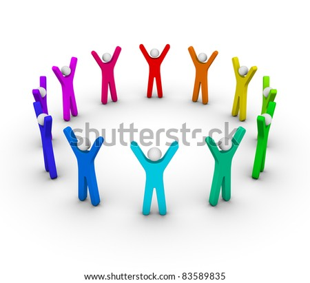 Colorful circle of peoples (unity concept) - stock photo