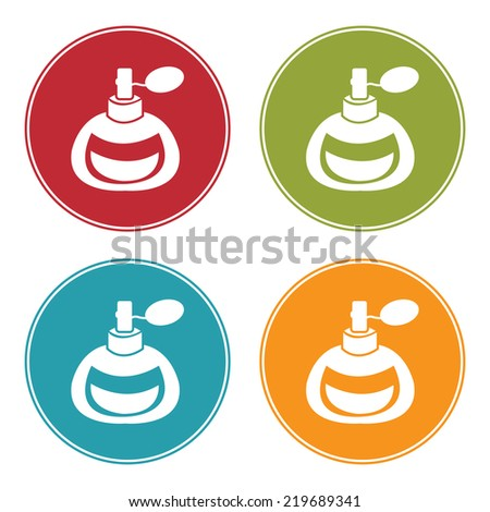 Colorful Circle Perfume or Fragrance Spray Icon, Sign or Symbol Isolated on White Background  - stock photo