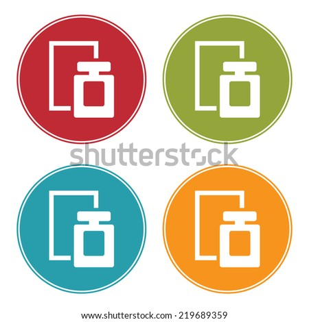 Colorful Circle Perfume Spray Icon, Sign or Symbol Isolated on White Background  - stock photo