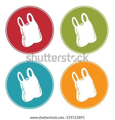 Colorful Circle Plastic Bag Icon, Sign or Symbol Isolated on White Background  - stock photo
