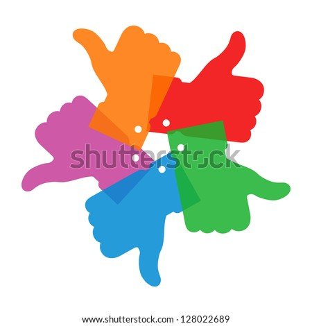 Colorful circle thumb up logo, raster illustration - stock photo