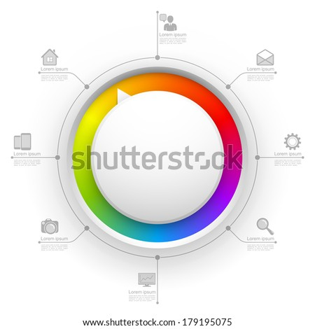 Colorful circle website template. - stock photo
