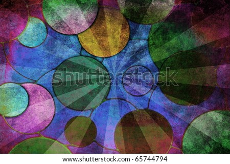 Colorful circles, abstract grunge background - stock photo
