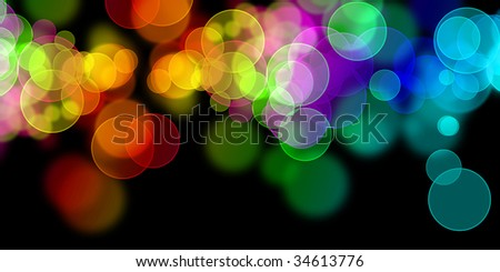 colorful circles on a solid black background