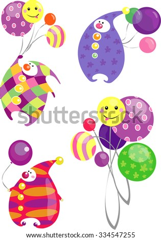 Colorful circus clowns with balloons isolated on a white background. - stock photo