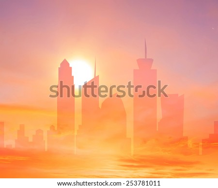 Colorful city double exposure background with rising sun over the sky towers  - stock photo