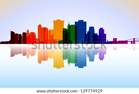 Colorful City Manhattan panorama, - stock photo