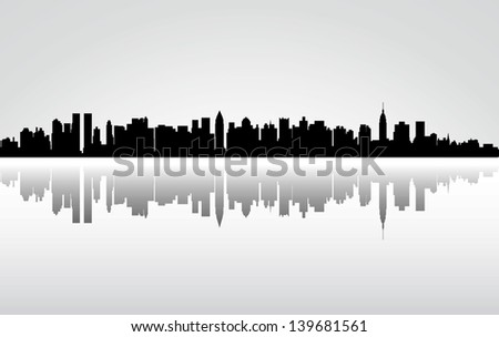 Colorful City New York panorama - stock photo