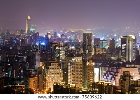Colorful city night scene with light in Taipei, Taiwan, Asia.
