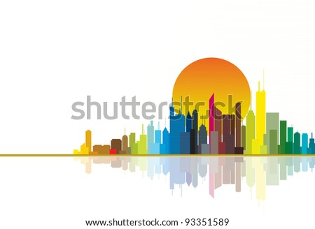 Colorful city silhouette illustration showing bright orange sun in the background. - stock photo