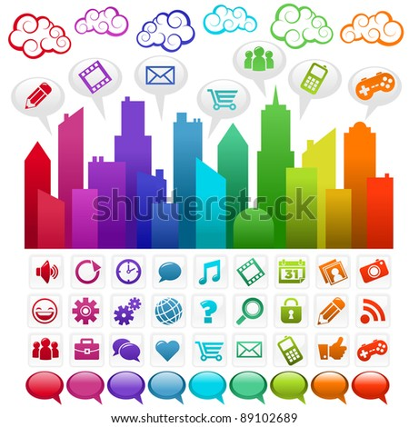Colorful city with social media icons and clouds - stock photo