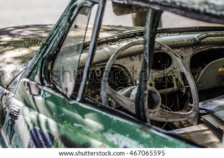 colorful classic car view steering wheel