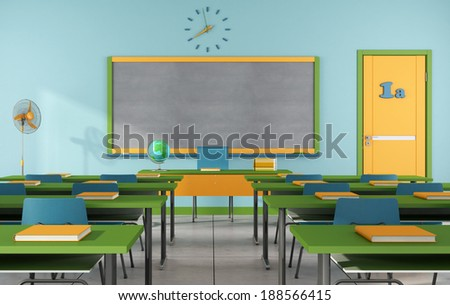 Colorful classroom without student - rendering - stock photo