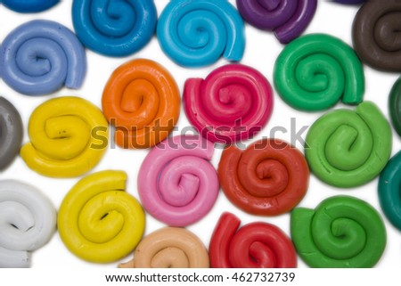 colorful clay for kid on white background, material
