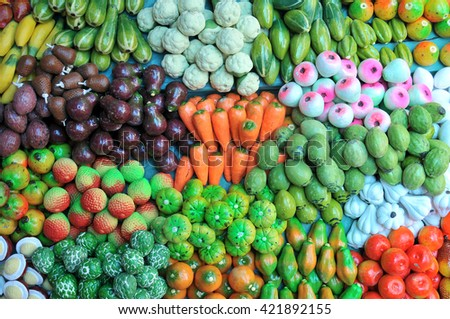 colorful clay fruits