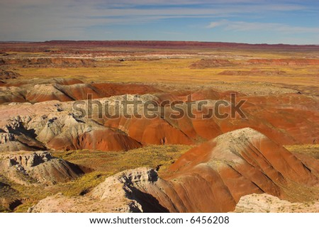 Colorful clay mountains of Petrified Forest and Painted Desert National Park - stock photo